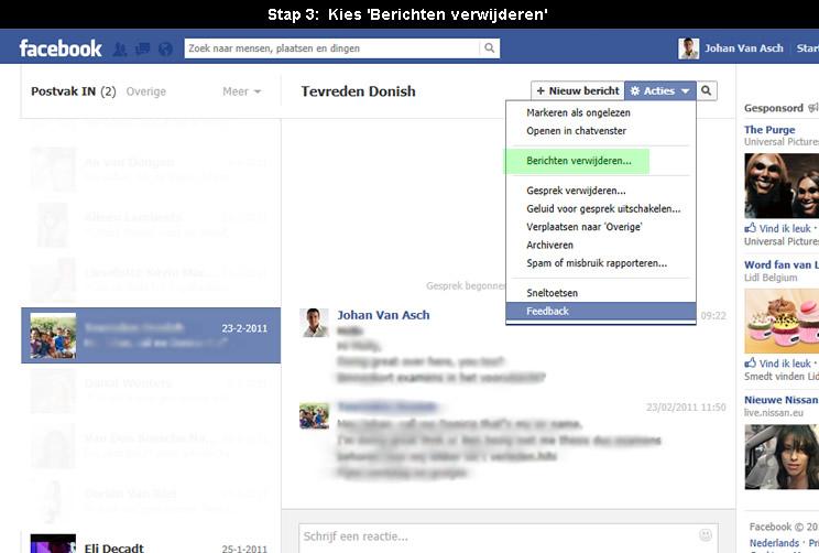 Hoe Facebook prive bericht verwijderen?