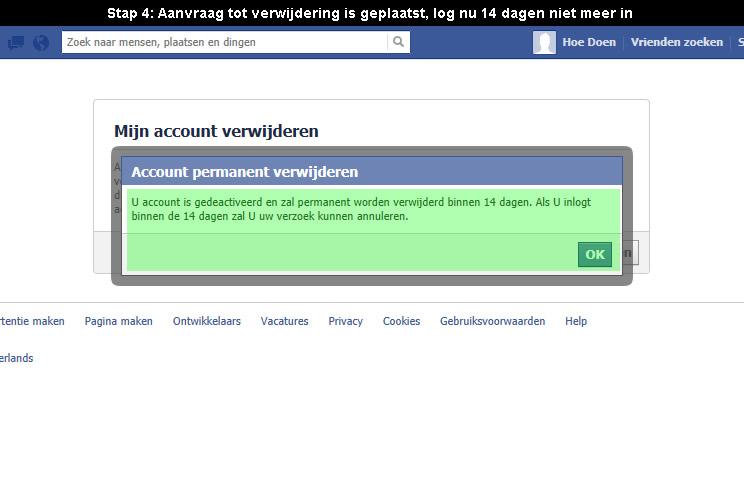Faceboook account verwijderen 4