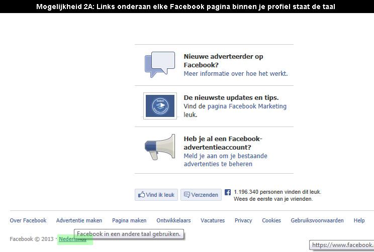 Facebook in nederlands zetten 1
