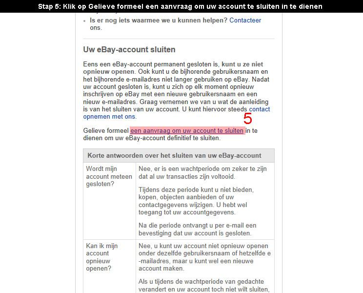 Ebay account verwijderen 5