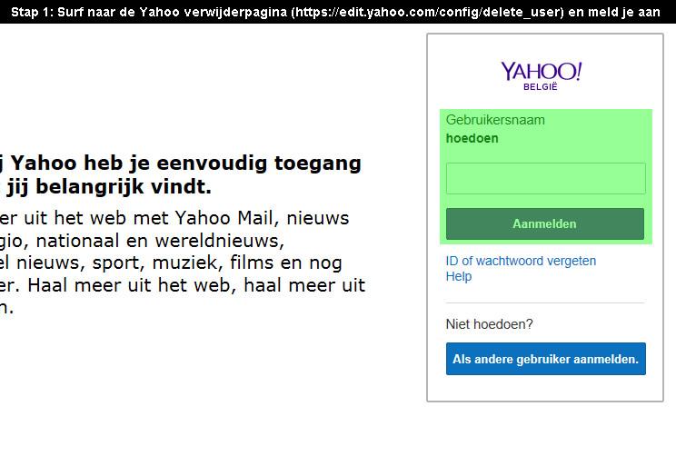 Yahoo account verwijderen 1