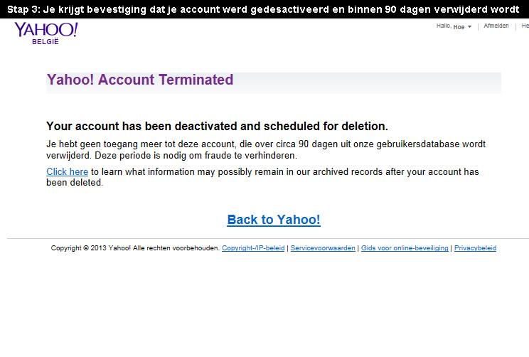 Yahoo account verwijderen 3