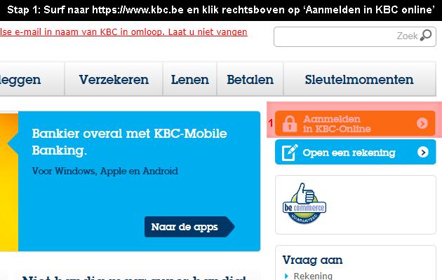 hoe online bankieren bij KBC 1