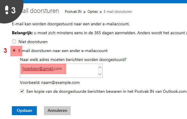hotmail doorsturen 3