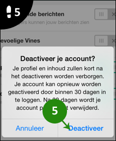 vine account verwijderen 5