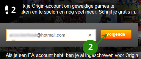 origin account aanmaken 2