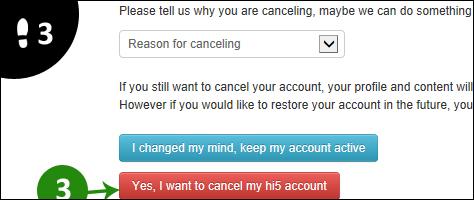 hi5 account verwijderen 3