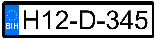 BIH nummerplaat